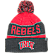 Front view of Top of the World Nebraska Cornhuskers College Below Zero Cuffed Pom Knit Hat in Team Colors