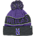 Front view of Top of the World Northwestern Wildcats College Below Zero Cuffed Pom Knit Hat in Team Colors