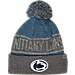 Front view of Top of the World Penn State Nittany Lions College Below Zero Cuffed Pom Knit Hat in Team Colors