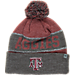 Front view of Top of the World Texas A & M Aggies College Below Zero Cuffed Pom Knit Hat in Team Colors