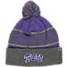 Front view of Top of the World TCU Horned Frogs College Below Zero Cuffed Pom Knit Hat in Team Colors