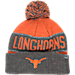 Front view of Top of the World Texas Longhorns College Below Zero Cuffed Pom Knit Hat in Team Colors