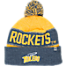 Front view of Top of the World Toledo Rockets College Below Zero Cuffed Pom Knit Hat in Team Colors