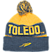Back view of Top of the World Toledo Rockets College Below Zero Cuffed Pom Knit Hat in Team Colors