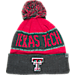 Front view of Top of the World Texas Tech Red Raiders College Below Zero Cuffed Pom Knit Hat in Team Colors