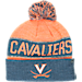 Front view of Top of the World Virginia Cavaliers College Below Zero Cuffed Pom Knit Hat in Team Colors