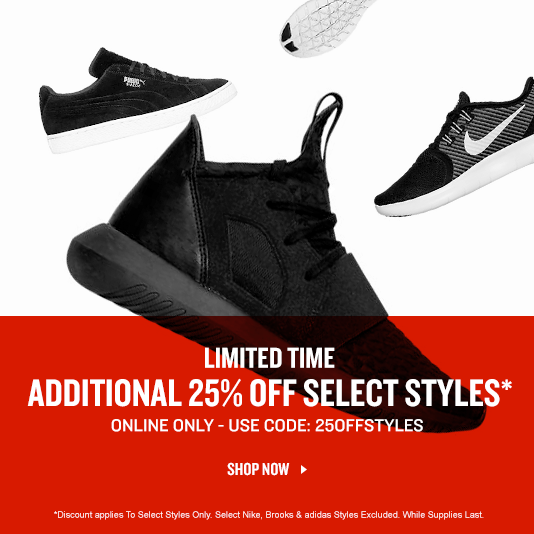 Limited Time Only. Additional 25% Off Select Styles*. Online Only.