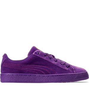 Girls' Grade School Puma Basket Classic Velour Casual Shoes Product Image
