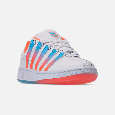Three Quarter view of Men's K-Swiss Classic VN Tonal Casual Shoes in White/Aquarious/Neon Blaze