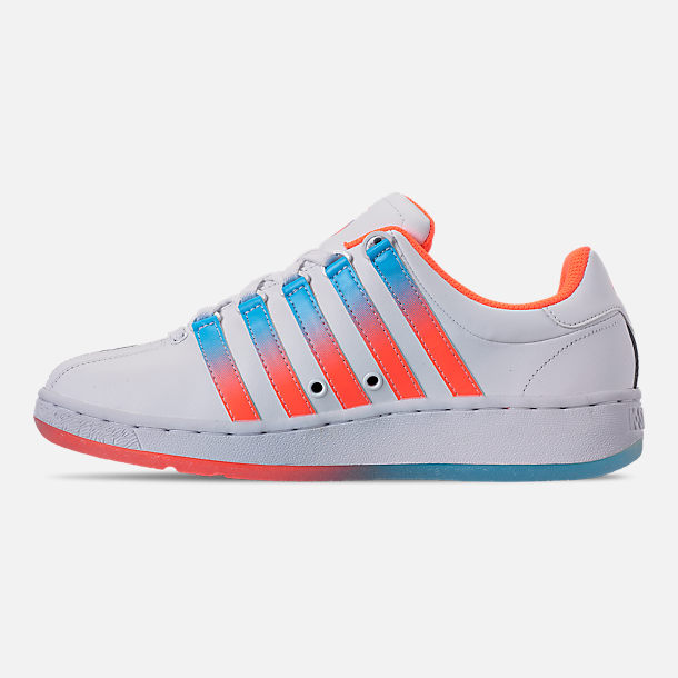 Left view of Men's K-Swiss Classic VN Tonal Casual Shoes in White/Aquarious/Neon Blaze