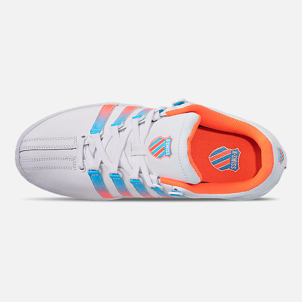 Top view of Men's K-Swiss Classic VN Tonal Casual Shoes in White/Aquarious/Neon Blaze