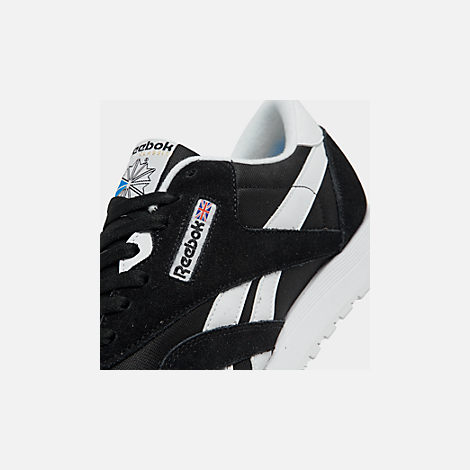 7baf81cf4e8 Front view of Men s Reebok Classic Nylon Casual Shoes in Black White