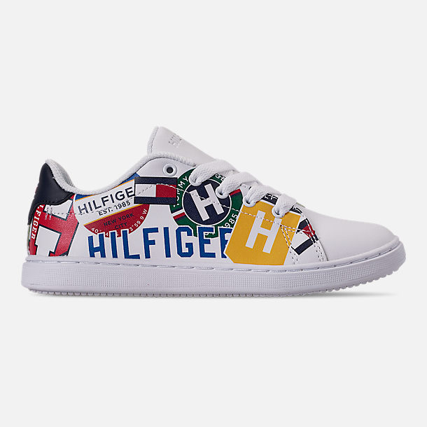 Right view of Boys' Little Kids' Tommy Hilfiger Iconic Court Casual Shoes in Multi Print/White Smooth