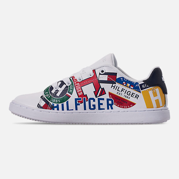 Left view of Boys' Little Kids' Tommy Hilfiger Iconic Court Casual Shoes in Multi Print/White Smooth