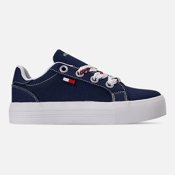 Right view of Girls' Little Kids' Tommy Hilfiger Pina Platform Casual Shoes in Navy Canvas/Sticker Print Lace