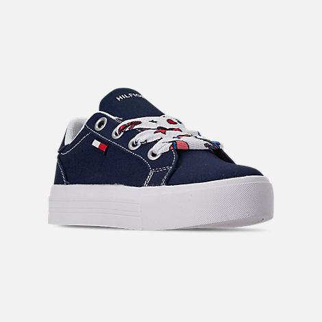 Three Quarter view of Girls' Little Kids' Tommy Hilfiger Pina Platform Casual Shoes in Navy Canvas/Sticker Print Lace