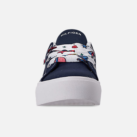 Front view of Girls' Little Kids' Tommy Hilfiger Pina Platform Casual Shoes in Navy Canvas/Sticker Print Lace