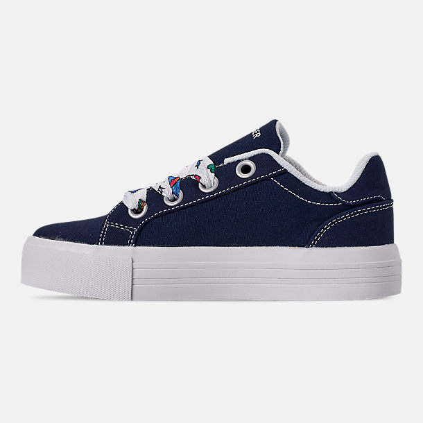 Left view of Girls' Little Kids' Tommy Hilfiger Pina Platform Casual Shoes in Navy Canvas/Sticker Print Lace