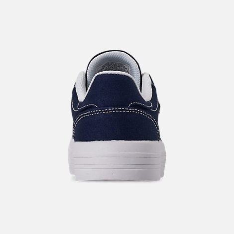 Back view of Girls' Little Kids' Tommy Hilfiger Pina Platform Casual Shoes in Navy Canvas/Sticker Print Lace