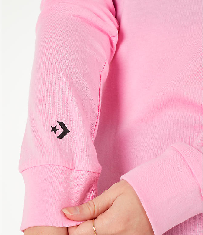 Detail 1 view of Women's Converse x Hello Kitty Long-Sleeve T-Shirt in Pink