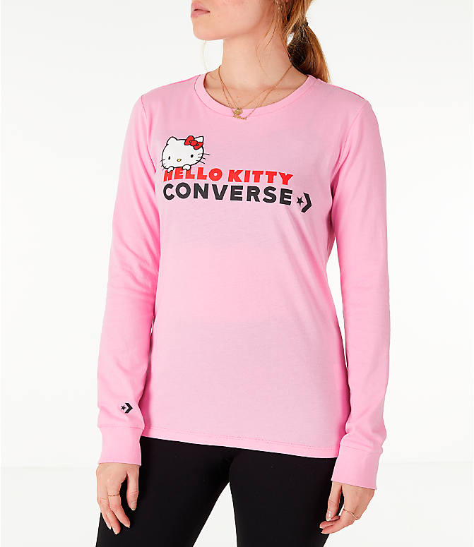 Front view of Women's Converse x Hello Kitty Long-Sleeve T-Shirt in Pink