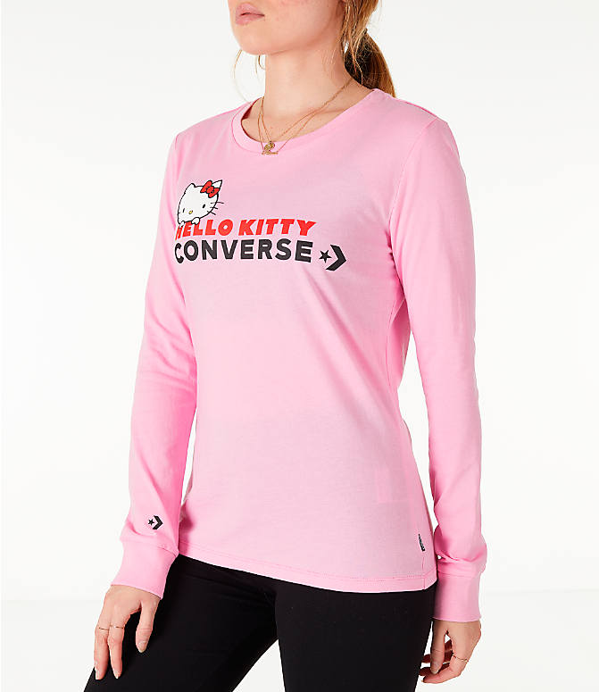 Front Three Quarter view of Women's Converse x Hello Kitty Long-Sleeve T-Shirt in Pink
