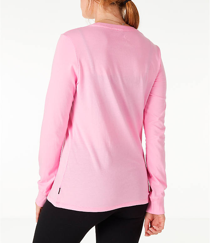 Back Left view of Women's Converse x Hello Kitty Long-Sleeve T-Shirt in Pink