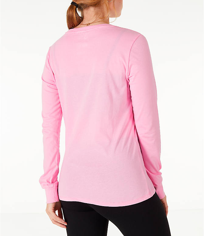 Back Right view of Women's Converse x Hello Kitty Long-Sleeve T-Shirt in Pink