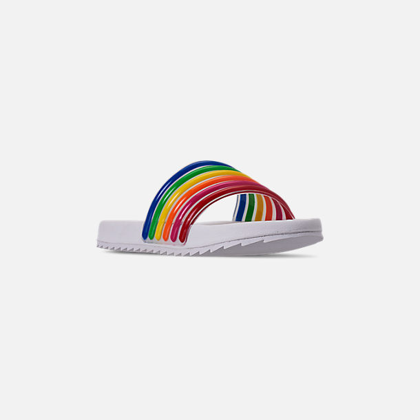 Three Quarter view of Girls' Little Kids' Tommy Hilfiger Shylo Slide Sandals in Rainbow Multi/White
