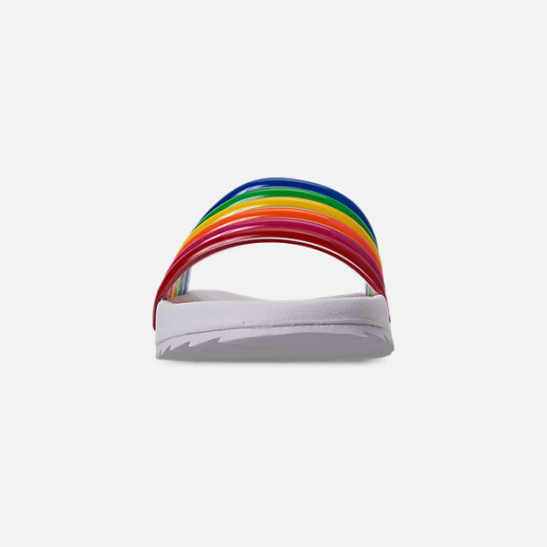 Front view of Girls' Little Kids' Tommy Hilfiger Shylo Slide Sandals in Rainbow Multi/White