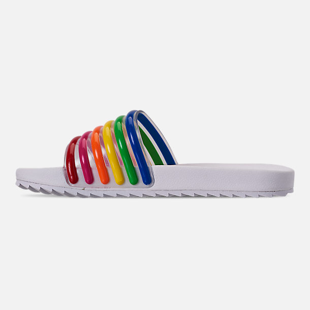Left view of Girls' Little Kids' Tommy Hilfiger Shylo Slide Sandals in Rainbow Multi/White