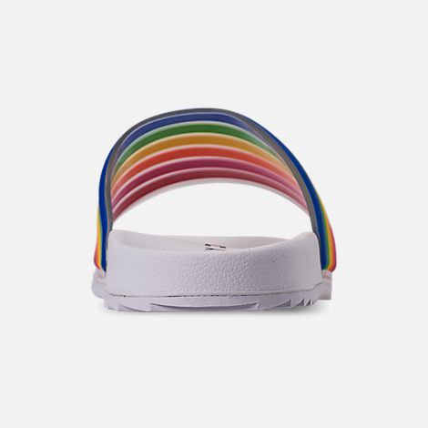 Back view of Girls' Little Kids' Tommy Hilfiger Shylo Slide Sandals in Rainbow Multi/White
