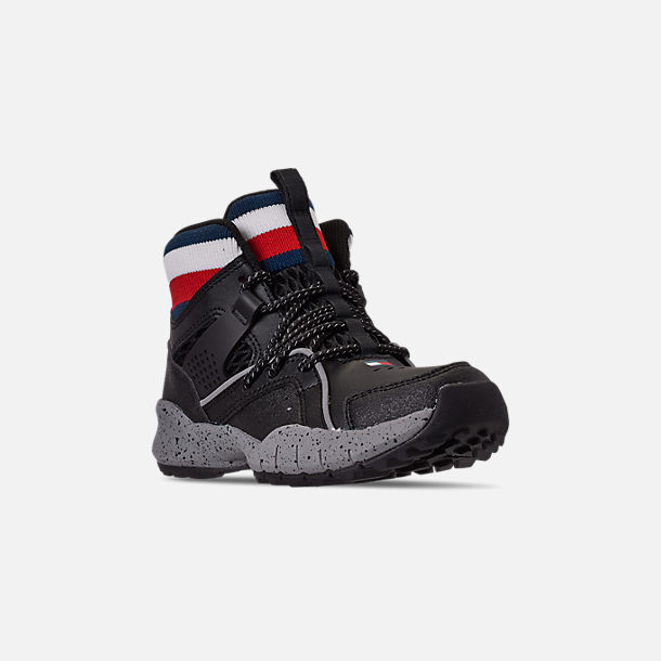 Three Quarter view of Boys' Little Kids' Tommy Hilfiger Trail Mid Trail Running Shoes in Black/Grey