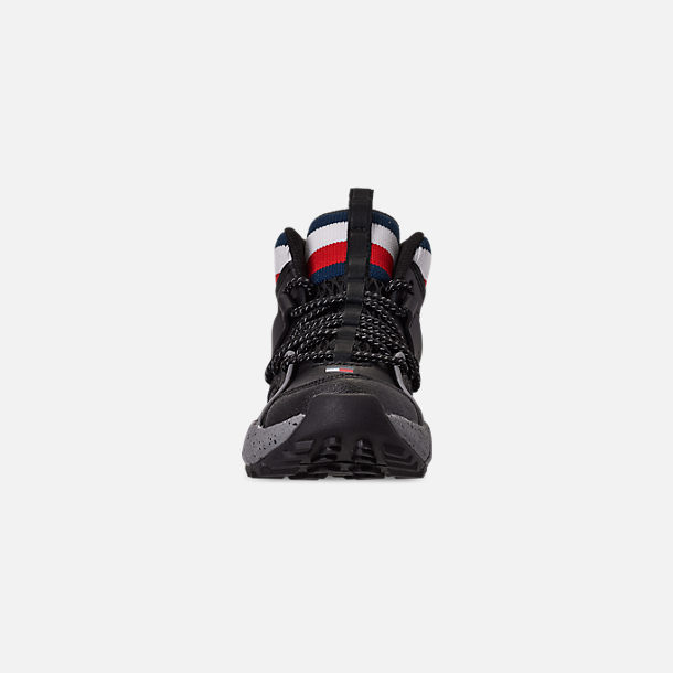 Front view of Boys' Little Kids' Tommy Hilfiger Trail Mid Trail Running Shoes in Black/Grey