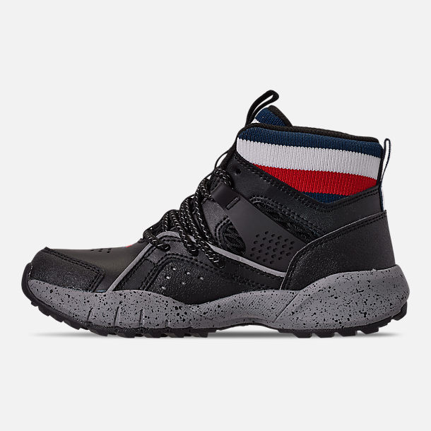 Left view of Boys' Little Kids' Tommy Hilfiger Trail Mid Trail Running Shoes in Black/Grey