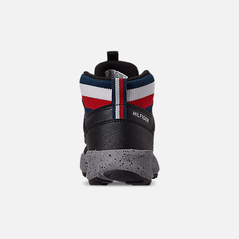 Back view of Boys' Little Kids' Tommy Hilfiger Trail Mid Trail Running Shoes in Black/Grey