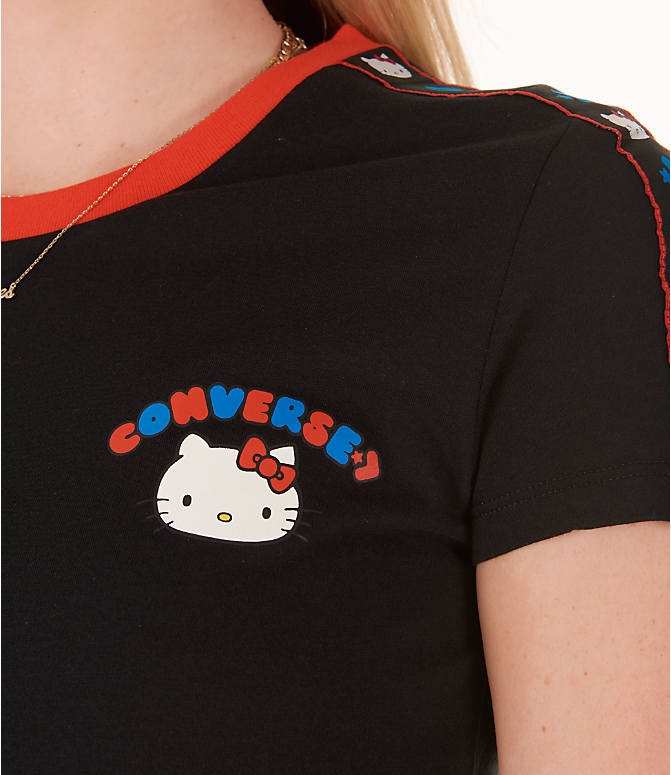 Detail 1 view of Women's Converse x Hello Kitty Tape T-Shirt in Black/Red