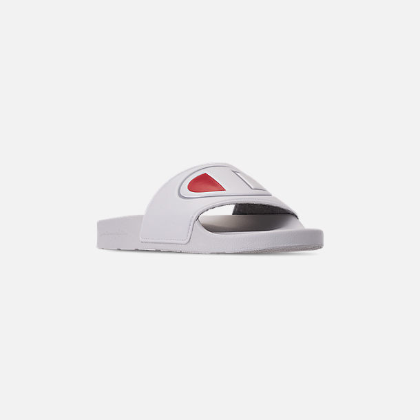 Three Quarter view of Women's Champion IPO Slide Sandals in White