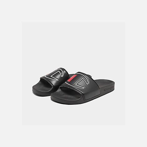 Three Quarter view of Women's Champion IPO Slide Sandals in Black