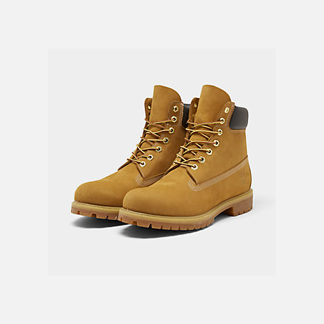 Three Quarter view of Men's Timberland 6 Inch Premium Classic Boots in Wheat