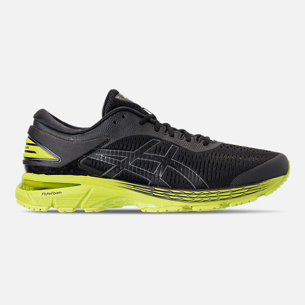 Right view of Men's Asics GEL-Kayano 25 Running Shoes in Black/Neon Lime