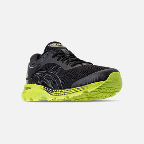 Three Quarter view of Men's Asics GEL-Kayano 25 Running Shoes in Black/Neon Lime