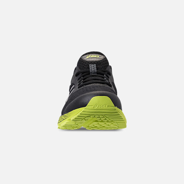 Front view of Men's Asics GEL-Kayano 25 Running Shoes in Black/Neon Lime