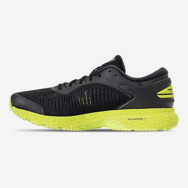 Left view of Men's Asics GEL-Kayano 25 Running Shoes in Black/Neon Lime