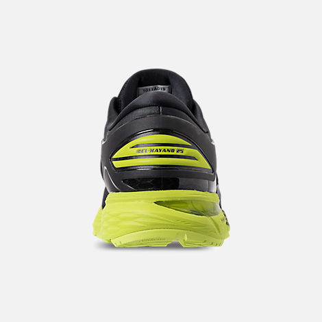 Back view of Men's Asics GEL-Kayano 25 Running Shoes in Black/Neon Lime
