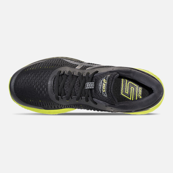 Top view of Men's Asics GEL-Kayano 25 Running Shoes in Black/Neon Lime