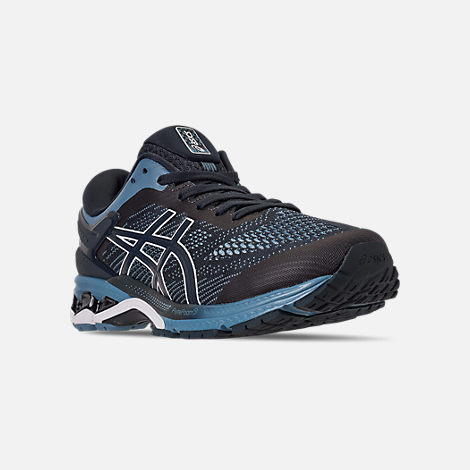 Three Quarter view of Men's Asics GEL-Kayano 26 Running Shoes in Mako Blue/Sour Yuzu