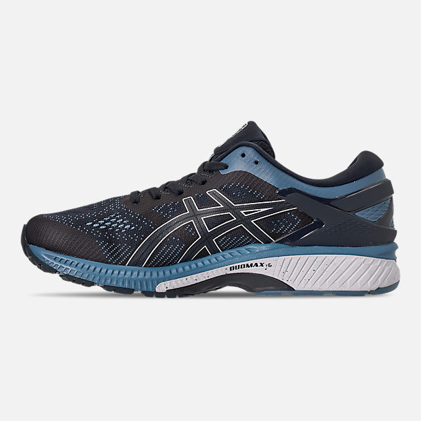 Left view of Men's Asics GEL-Kayano 26 Running Shoes in Mako Blue/Sour Yuzu