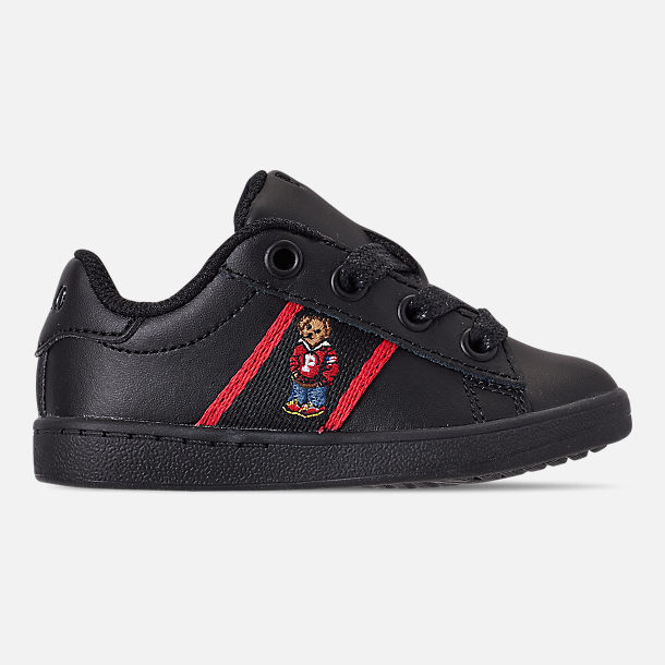 Right view of Kids' Toddler Polo Ralph Lauren Quilton Bear Casual Shoes in Black/Red