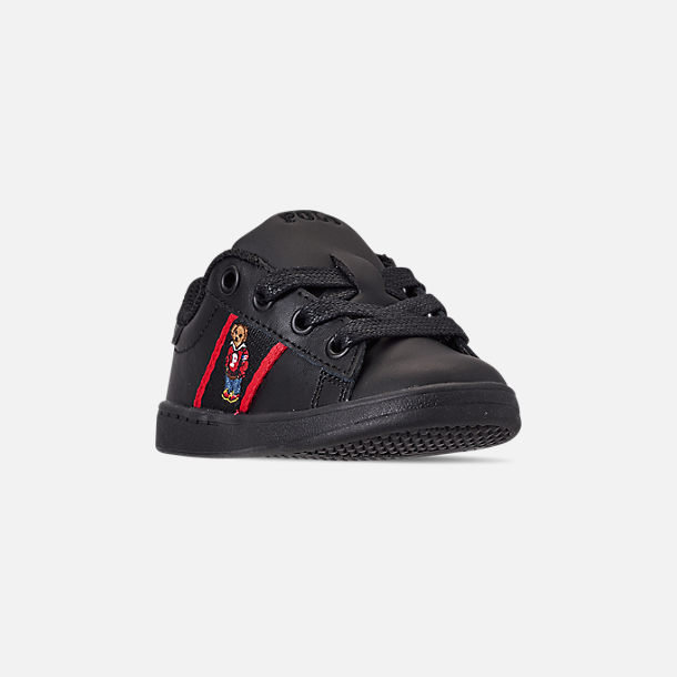 Three Quarter view of Kids' Toddler Polo Ralph Lauren Quilton Bear Casual Shoes in Black/Red